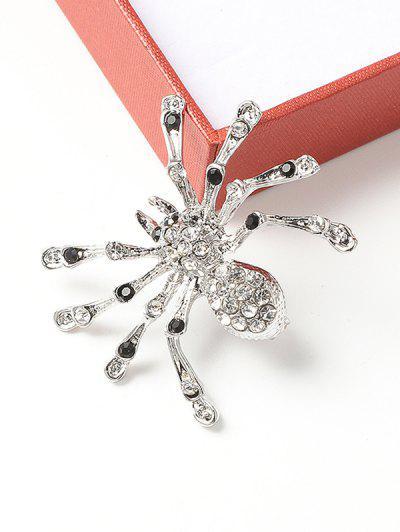 Rhinestone Spider Shape Brooch - Silver
