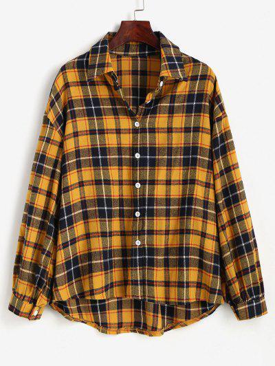 Plaid Drop Shoulder High Low Shirt - Yellow M