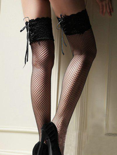 Lace Up Fishnet Thigh High Stockings - Multi-b