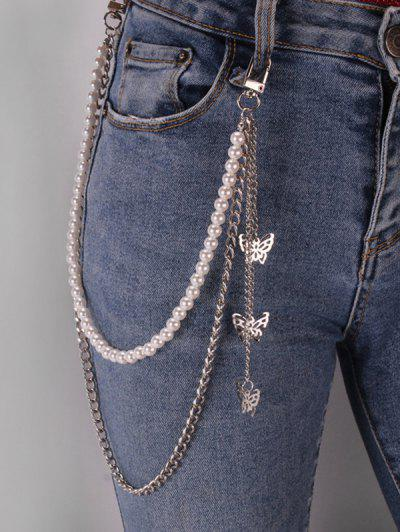 Butterfly Faux Pearl Layers Trousers Chain - Silver