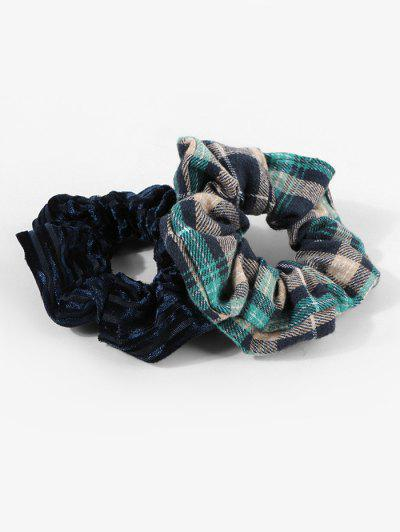 2Pcs Plaid Velour Scrunchie Set - Multi-a