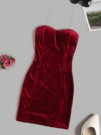 Padded Velvet Mini Tube Dress - Deep Red