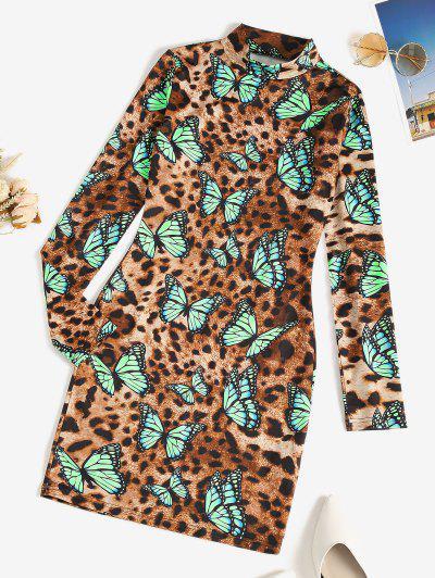 Leopard Butterfly High Neck Bodycon Dress - Deep Coffee S