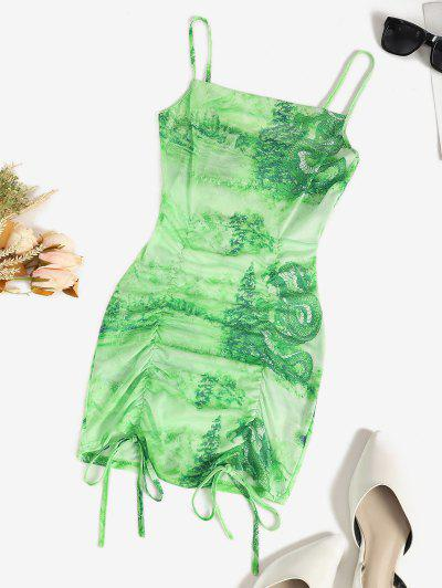 Mesh Dragon Print Sheer Ruched Cami Dress - Green S