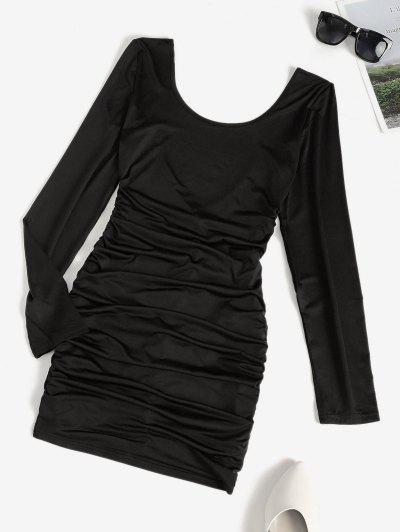 Low Back Ruched Long Sleeve Slinky Dress - Black M
