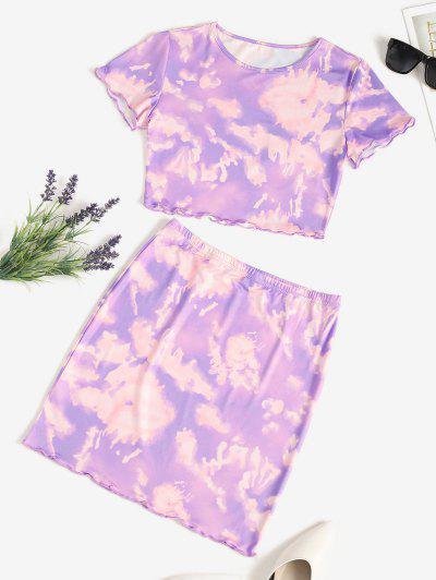 Tie Dye Lettuce-trim Slinky Two Piece Dress - Purple S