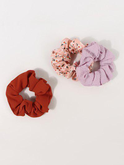 3Pcs Floral Print Elastic Scrunchie Set - Multi-a