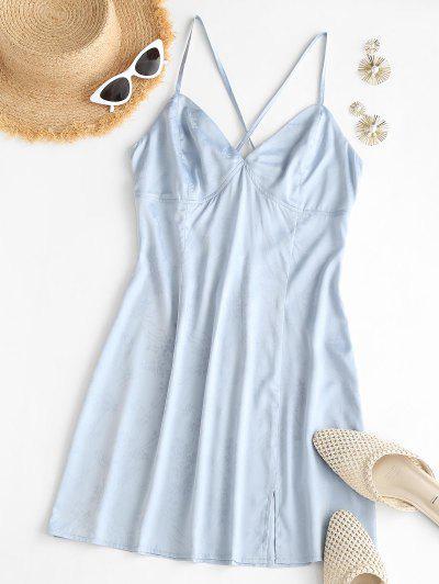 ZAFUL Satin Floral Jacquard Backless Cami Dress - Light Blue L