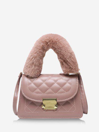 Fluffy Handle Quilted Crossbody Handbag - Lipstick Pink