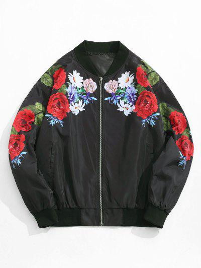 Flower Pattern Zip Up Jacket - Black 2xl