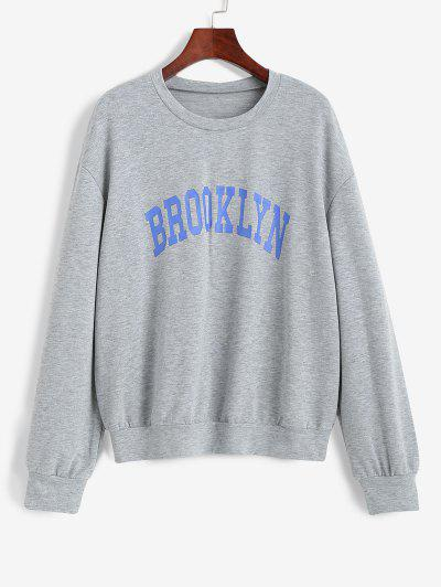 Marled Drop Shoulder Graphic Sweatshirt - Light Gray M