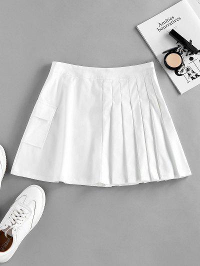 ZAFUL Pleated Pocket Mini Skirt - White M