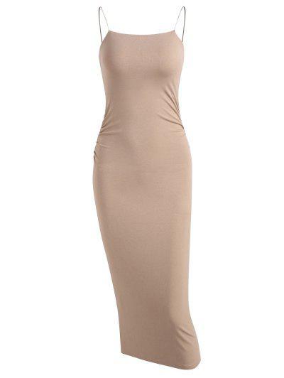 Twist Back Ruched Detail Slinky Midaxi Jersey Dress - Light Coffee M