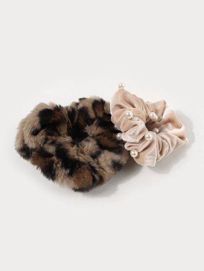 2Pcs Leopard Fluffy Faux Pearl Scrunchie Set - Multi-a