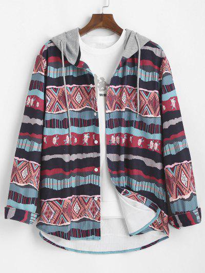Tribal Geometric Floral Print Colorblock Hooded Shirt - Multi L