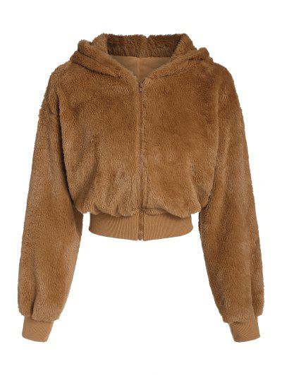 ZAFUL Hooded Fluffy Faux Fur Coat - Tiger Orange Xl