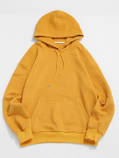 Drop Shoulder Solid Pullover Hoodie - Deep Yellow Xl
