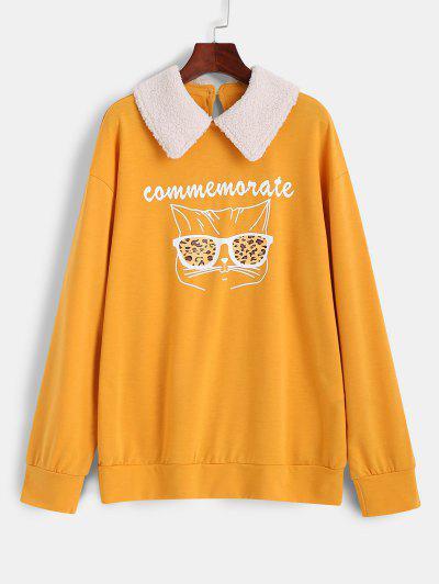 Leopard Brille Grafik Kontrast Peter Pan Kragen Sweatshirt - Gelb S