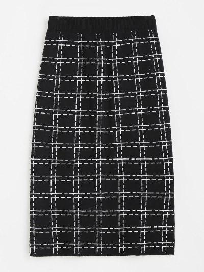 Plaid Side Slit Knitted Skirt - Black