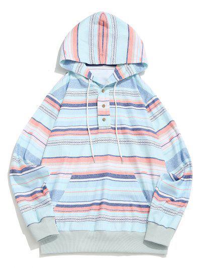 Striped Pattern Half Button Corduroy Hoodie - Multi M