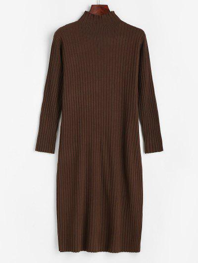 Ribbed Long Sleeve Sweater Dress - Sepia