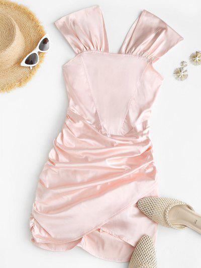 Off The Shoulder Ruched Slinky Satin Dress - Light Pink M