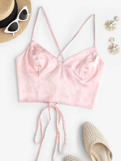 ZAFUL Satin Floral Jacquard Lace-up Cami Top - Light Pink S