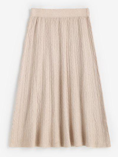 High Waisted Textured Knitted Midi Skirt - Warm White