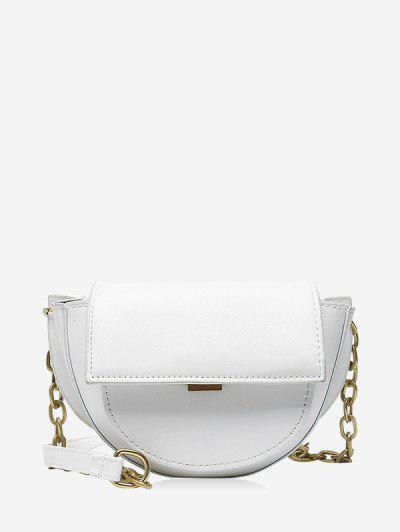 Solid Cover Chain Saddle Bag - Crystal Cream