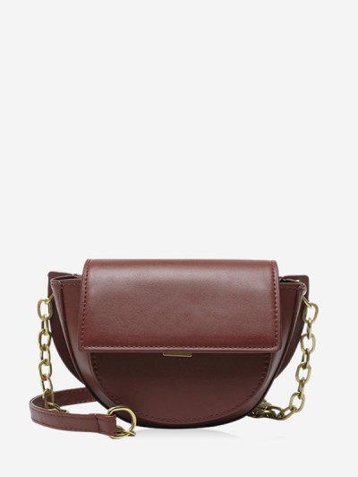 Solid Cover Chain Saddle Bag - Red Wine