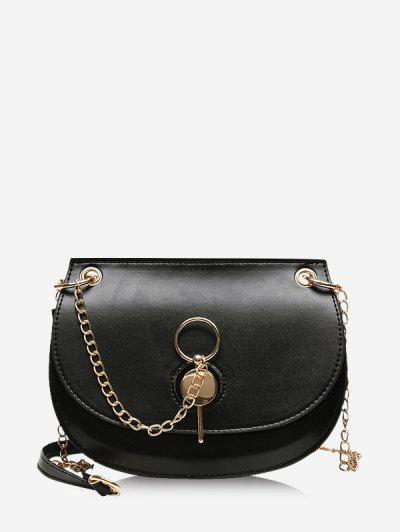 Chain Crossbody Saddle Bag - Black