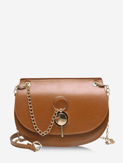 Chain Crossbody Saddle Bag - Brown