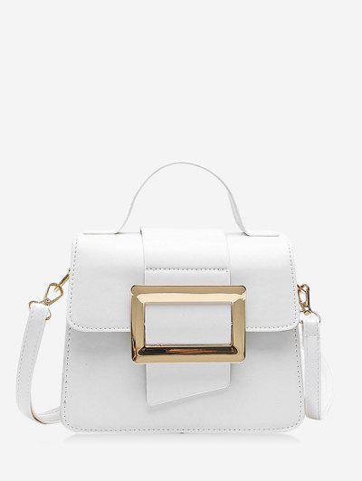 Rectangle Embellished Crossbody Bag - White