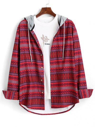 Tribal Geometric Pattern Colorblock Hooded Shirt - Red L