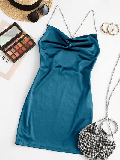 ZAFUL Crisscross Chains Backless Shiny Mini Dress - Blue Ivy L