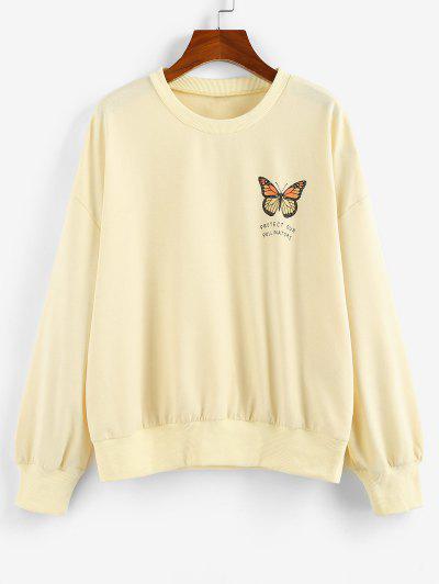 ZAFUL Oversized Butterfly Print Drop Shoulder Sweatshirt - Light Yellow L