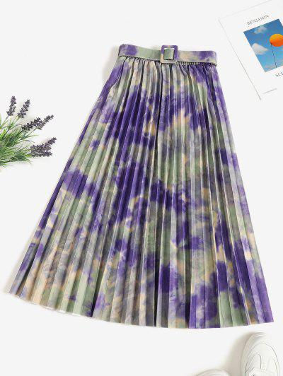 Tie Dye Pleated Belted A Line Skirt - Multi