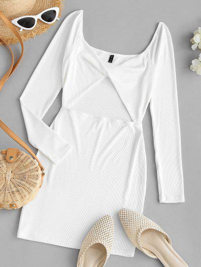 ZAFUL Ribbed Twisted Cutout Bodycon Club Dress - White S
