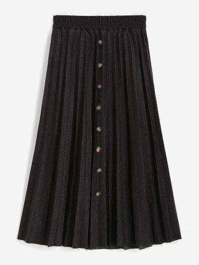 Mock Button High Waisted Pleated Skirt - Black