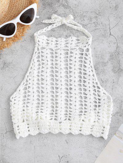 Haut De Bikini En Crochet à Col Haut - Blanc