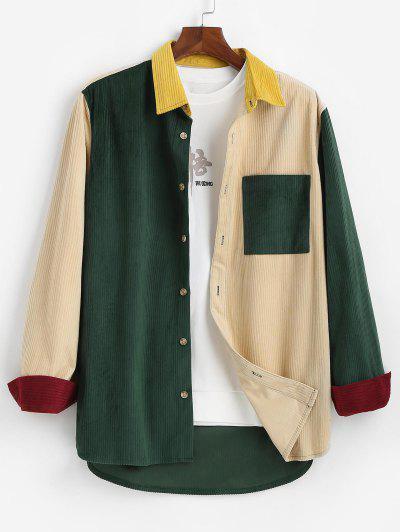 Camisa De Manga Larga Con Parche De Bolsillo De Bloqueo De Color - Multicolor S