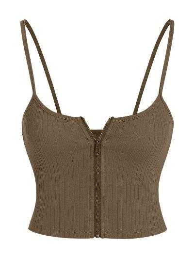 ZAFUL Ribbed Zip Front Crop Camisole - Deep Brown M
