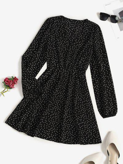 V Neck Polka Dot Long Sleeve Mini Dress - Black S