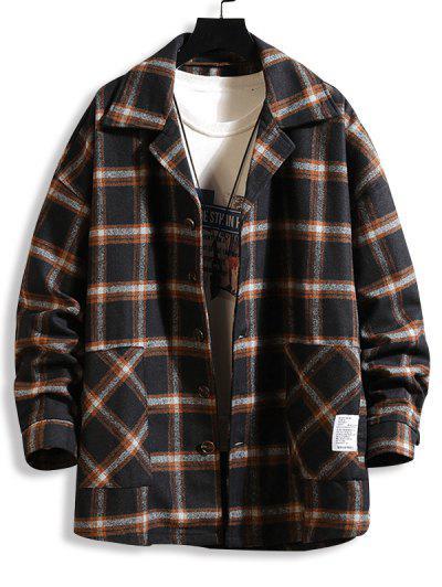 Plaid Print Applique Button Up Jacket - Black 2xl