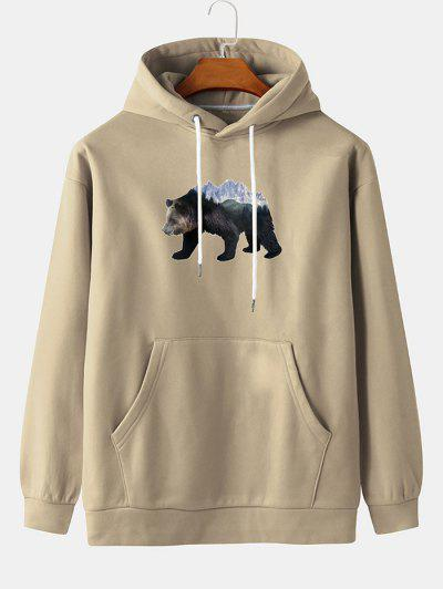 Front Pocket Ice Bear Print Fleece Hoodie - Blanched Almond Xl