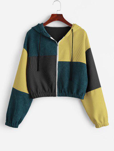 ZAFUL Corduroy Color Block Hooded Zip Jacket - Fall Leaf Brown M