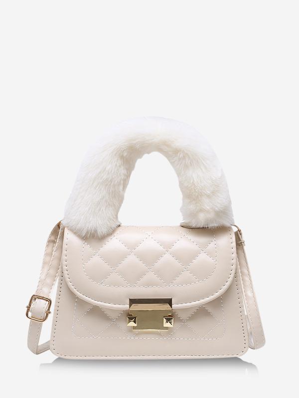 Fluffy Handle Quilted Crossbody Handbag