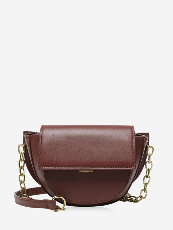 Solid Cover Chain Saddle Bag