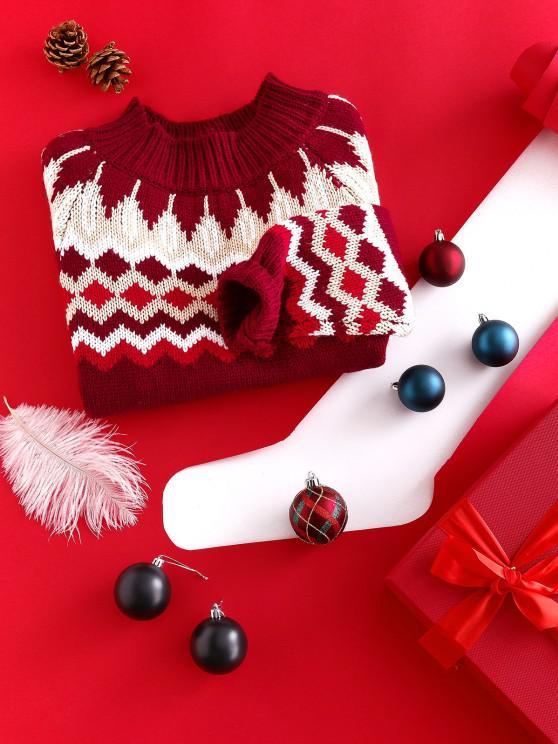 ZAFUL موك الرقبة Intarsia حك الجرافيك البلوز عيد الميلاد - متعدد S