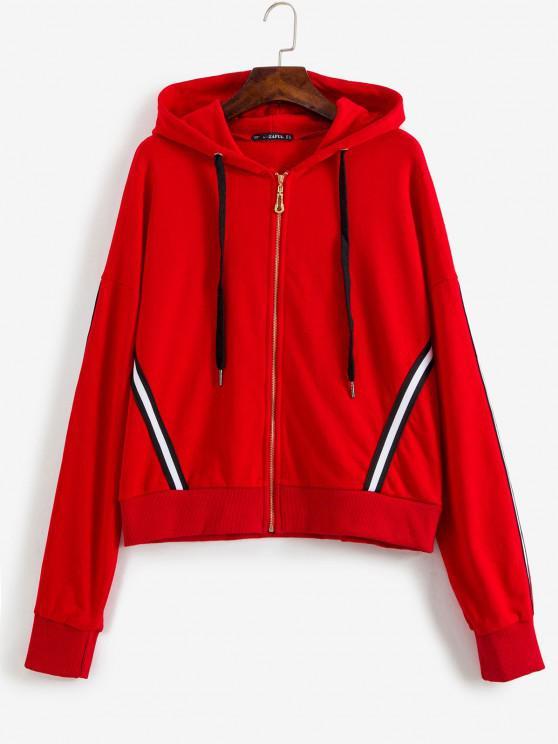 ladies Sporty Stripes Zip Up Hoodie - LAVA RED M